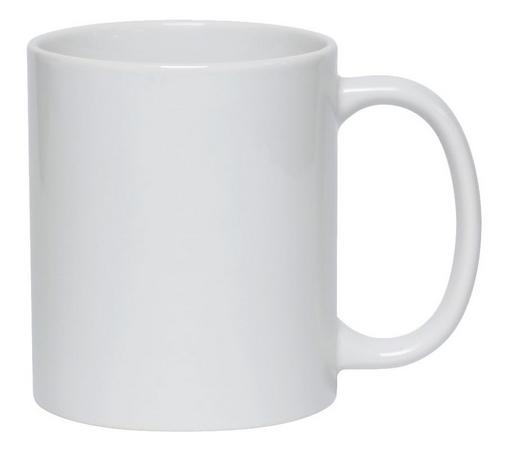Caneca de Cerâmica Branca de 325 ml Resinada Para Sublimação.