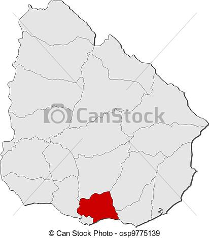 EPS vectores de destacado, mapa, canelones, Uruguay.