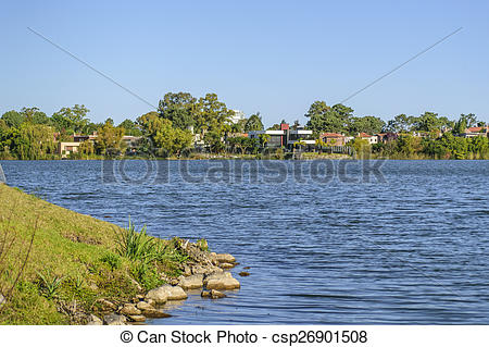 Stock Photography of Parque Miramar Lake in Canelones Uruguay.