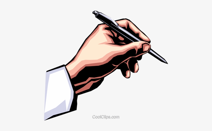 Hand Writing With Pen Royalty Free Vector Clip Art.