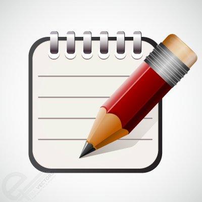 Clipart e gráficos vetoriais de Ícone de caneta e bloco de notas.