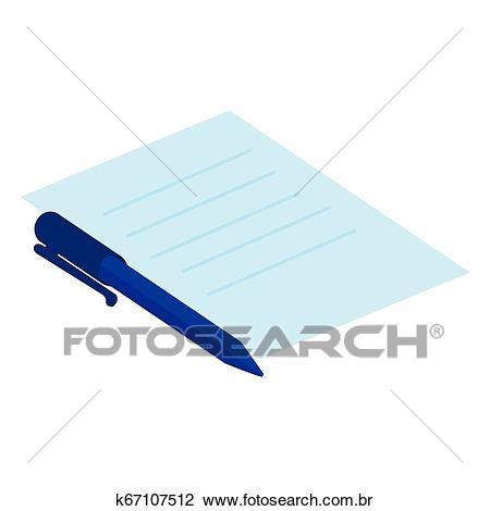 Documento, papel, com, caneta Clipart.