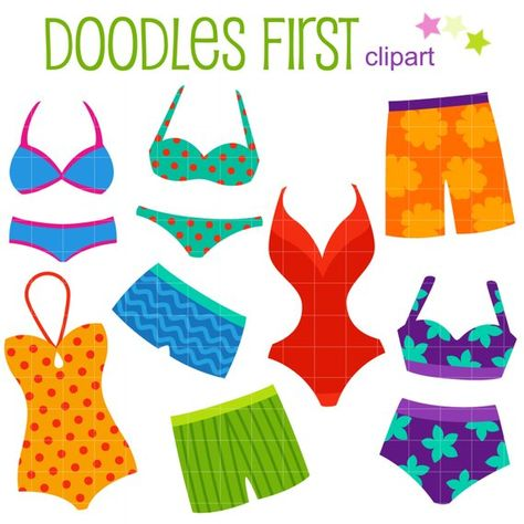 Bikinis and Swimming Trunks Digital Clip Art for.