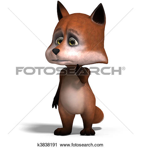 Clipart of the cute cartoon fox is very smart and clever. 3D.
