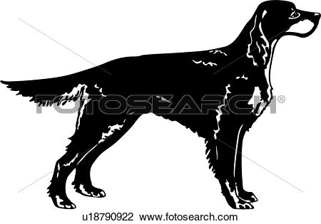 Clipart of , animal, breeds, canine, dog, gordon setter, show dog.
