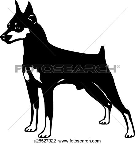 Clipart of , animal, breeds, canine, dog, miniature pinscher, show.