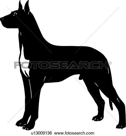 Clip Art of , animal, breeds, canine, dog, great dane, show dog.