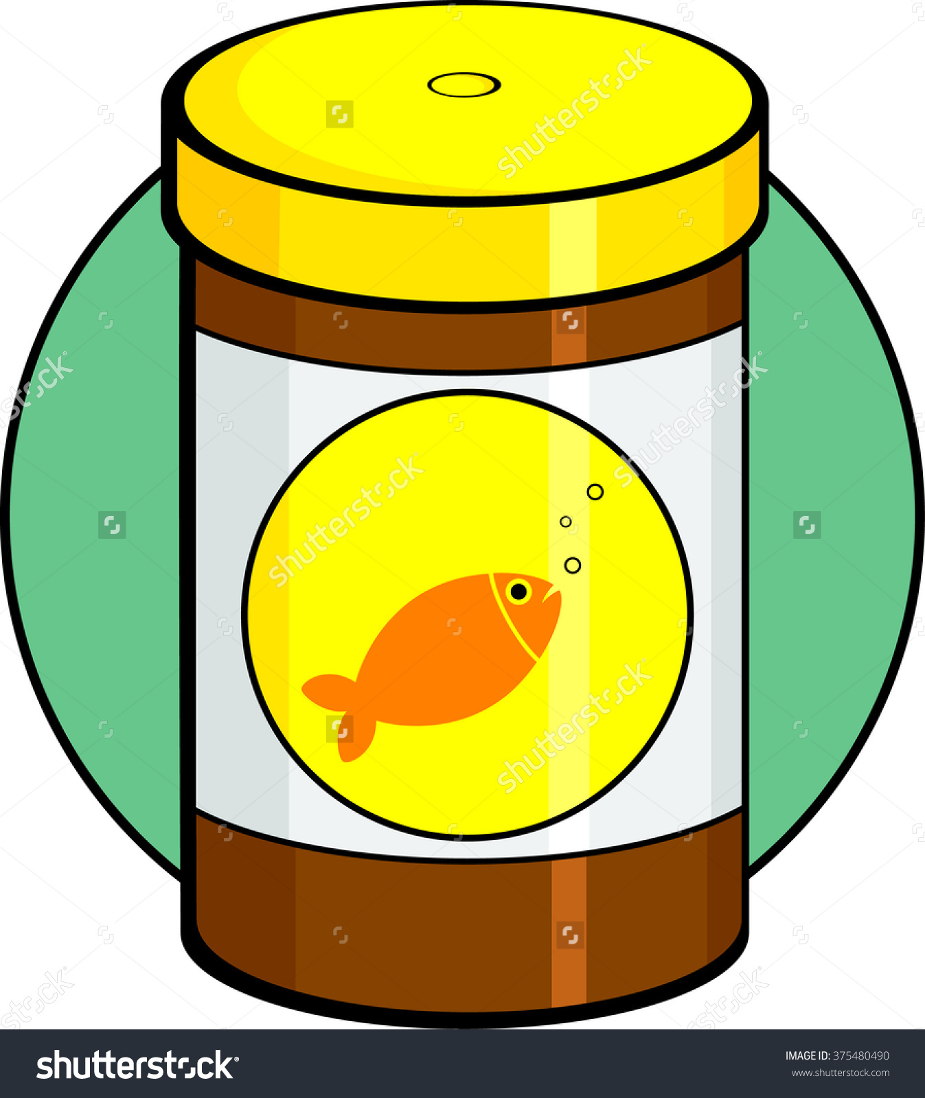 Fish food canister label clipart.