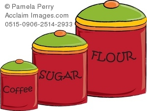 Clip Art Illustration of Kitchen Canisters.