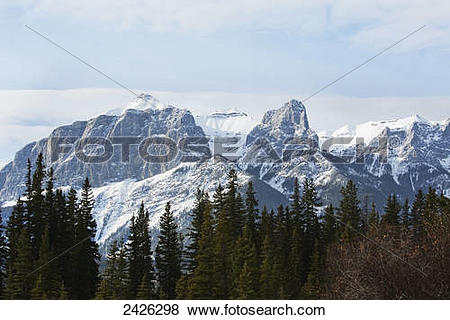 Pictures of View of the rocky mountains above the village of.