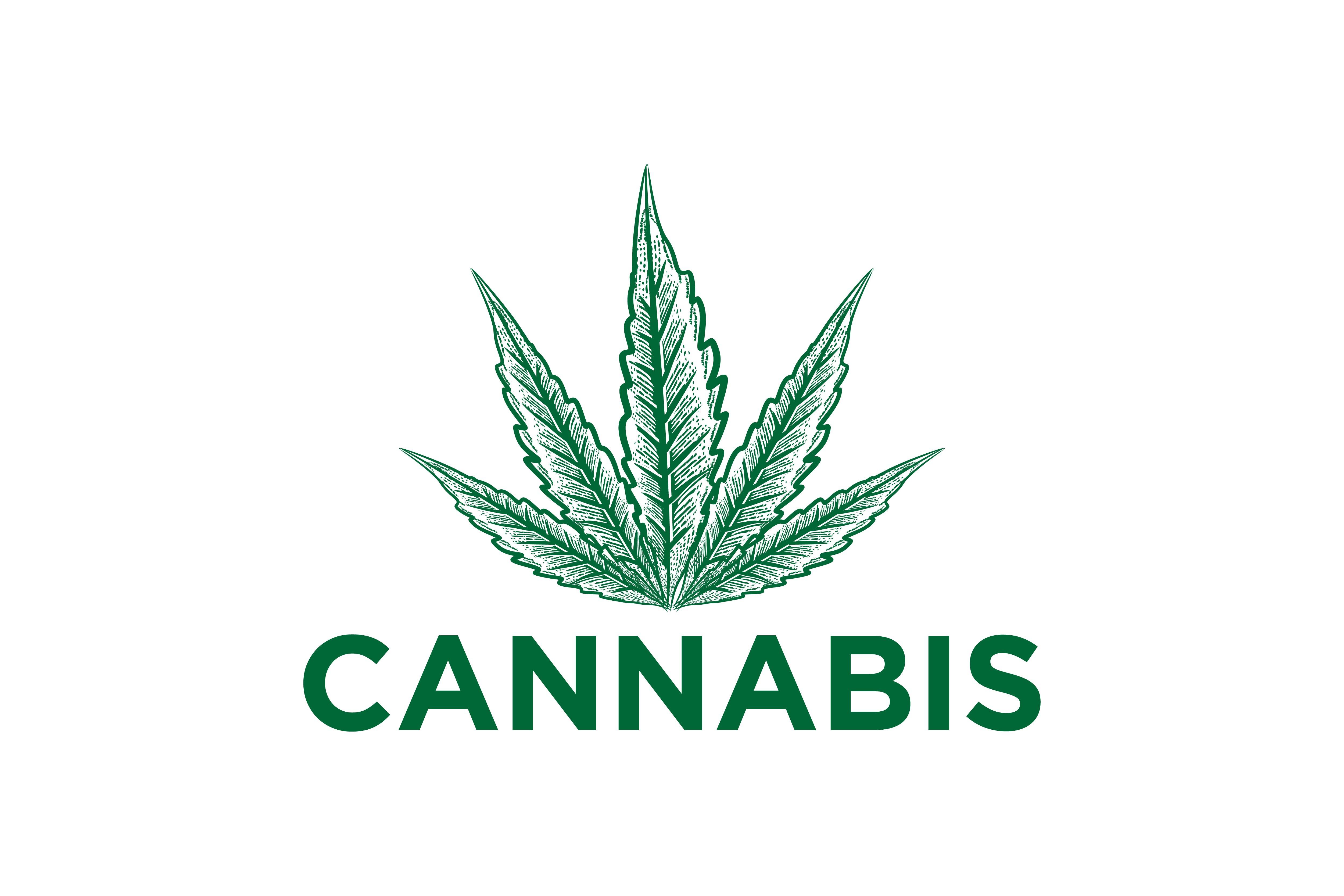 Cannabis leaf logo.