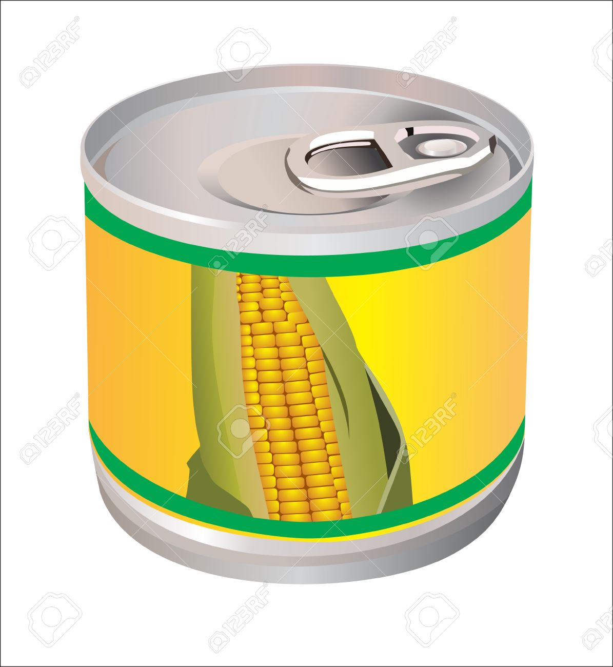 Bank With Corn Isolated In White Royalty Free Cliparts, Vectors.