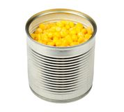 Canned Corn Stock Photo.