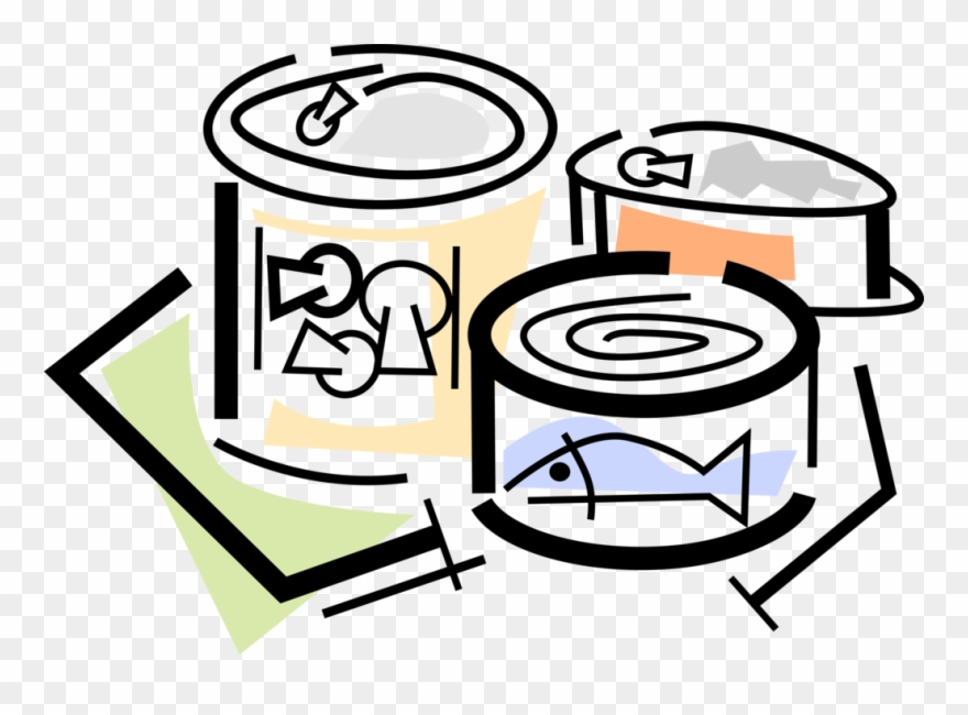 Vector Illustration Of Canned And Packaged Food Goods.