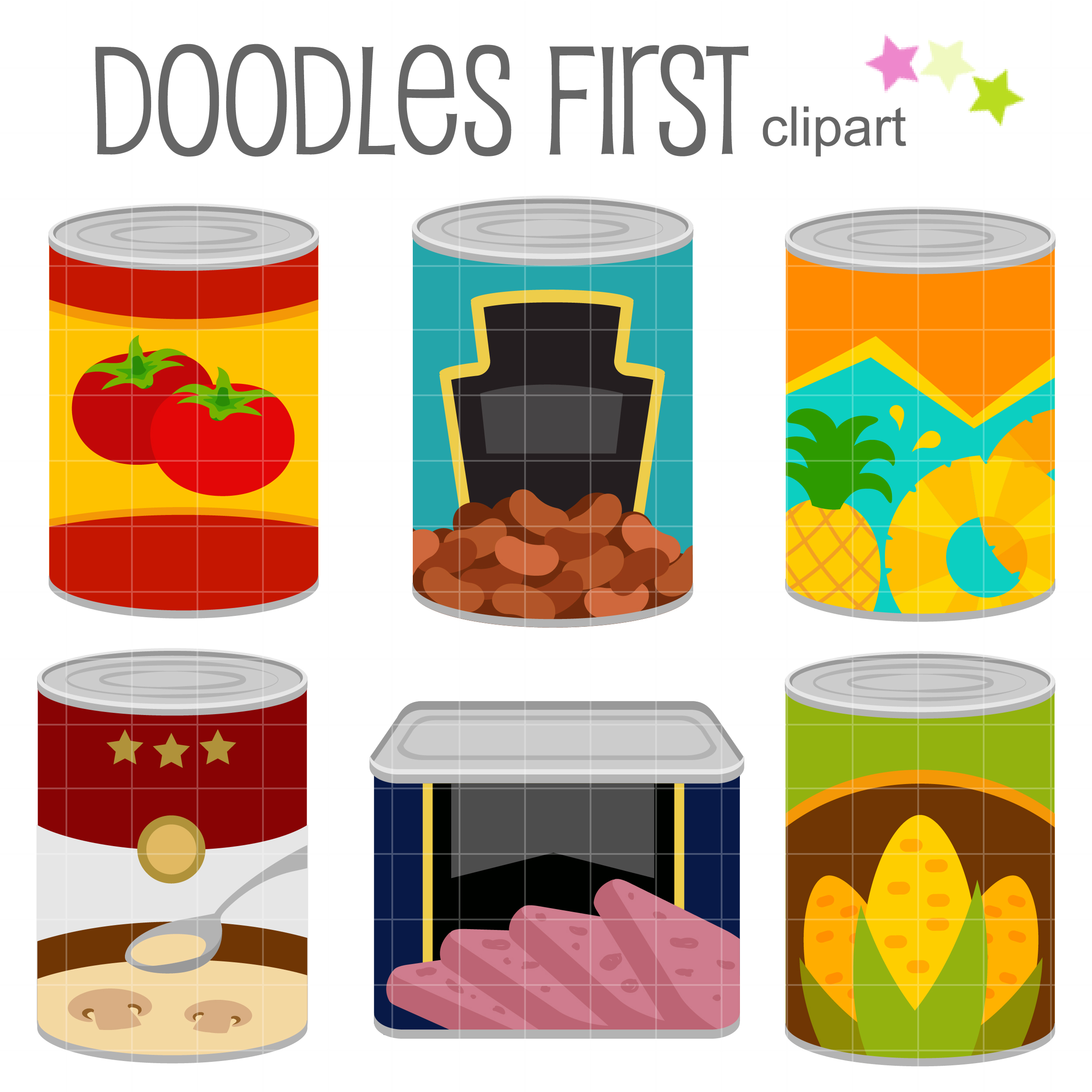 Canned Food Clip Art Set.