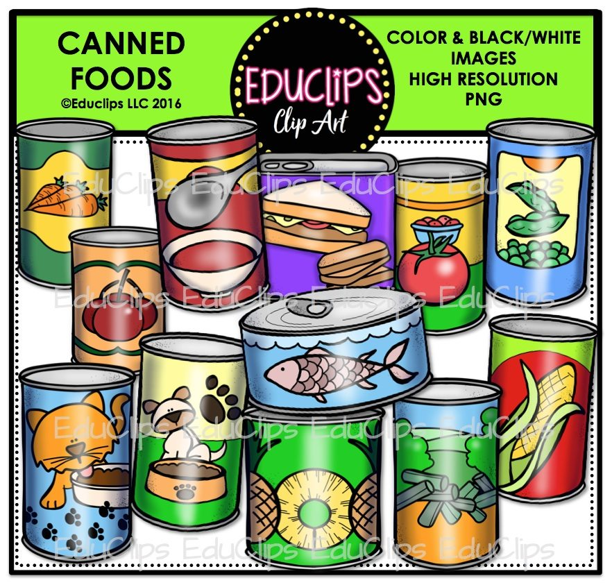 Canned Foods Clip Art Bundle (Color and B&W).