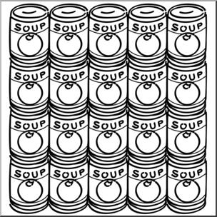 Clip Art: Soup Cans B&W I abcteach.com.