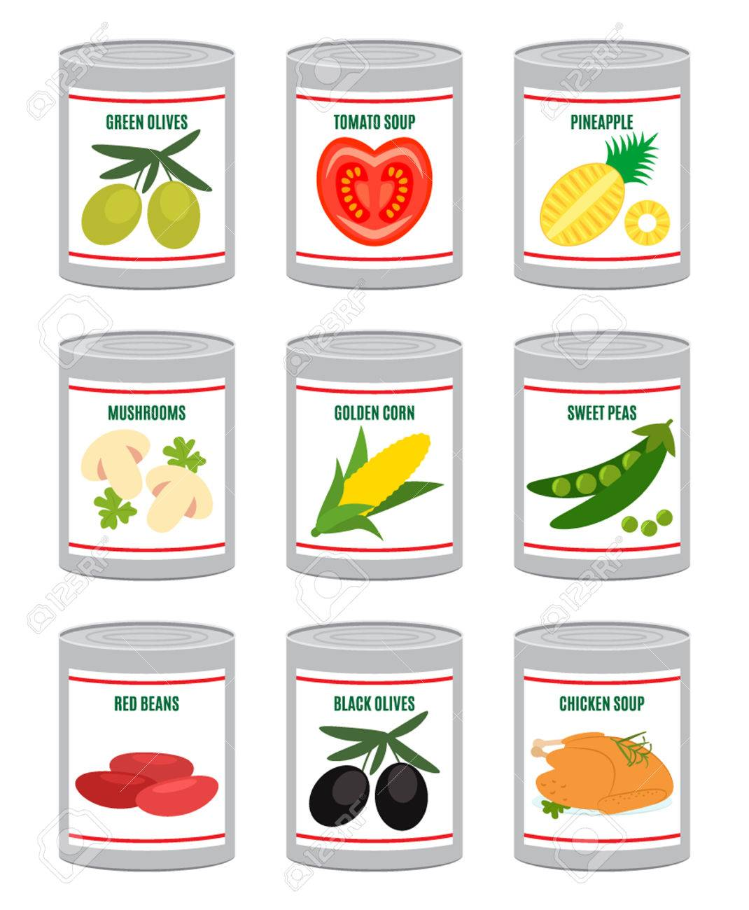 a set of canned vegetables, fruits and meat. flat vector illustration...