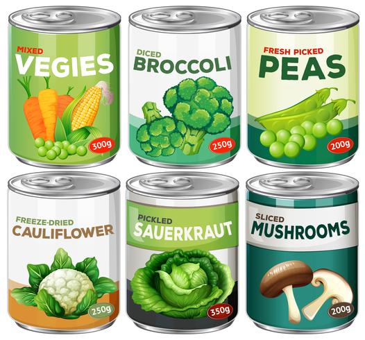 Set of canned vegetable Vector.