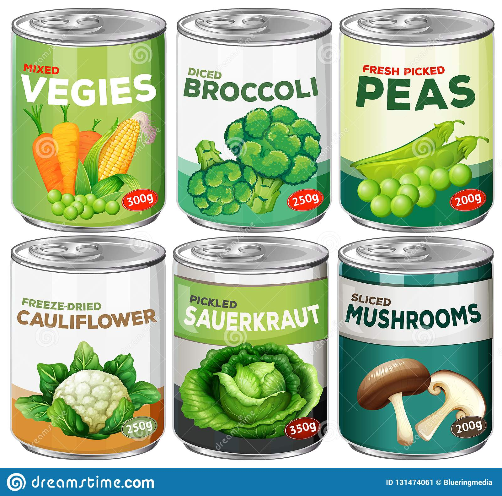 Set of canned vegetable stock vector. Illustration of clipart.
