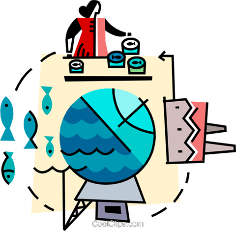 woman working at a fish cannery Royalty Free Vector Clip Art.