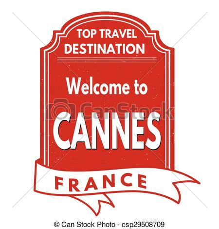 Vector Clipart of Welcome to Cannes stamp.