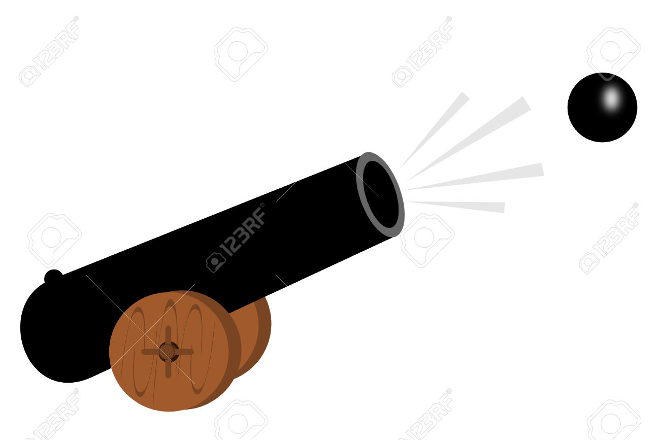 A Old Cannon Shooting A Ball Royalty Free Cliparts, Vectors, And.
