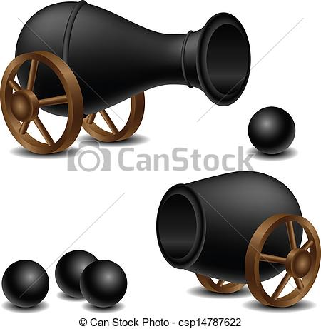 Vector Illustration of Cannon set with balls csp14787622.