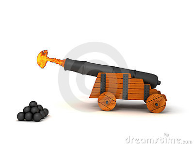 Firing Cannon Royalty Free Stock Images.