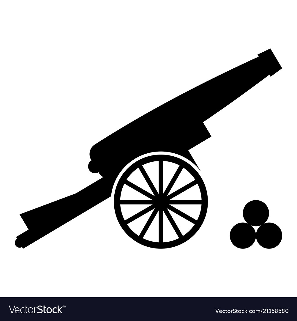 Medieval cannon firing cores icon black color.