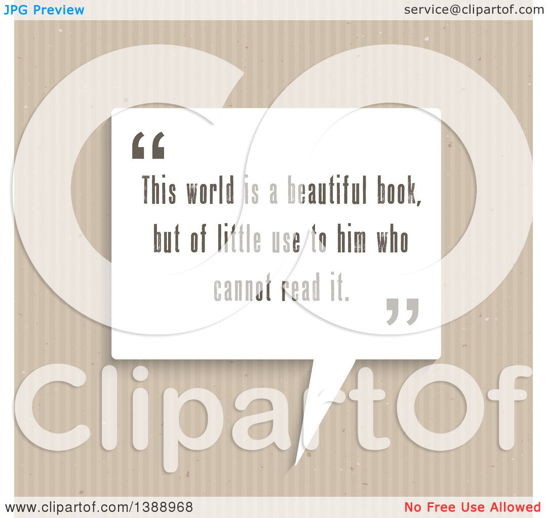 Clipart of a This World Is a Beautiful Book, but of Little Use to.