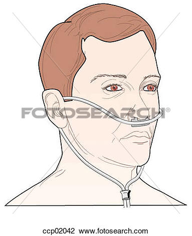 Clip Art of Face mask, nasal cannula ccp02042.