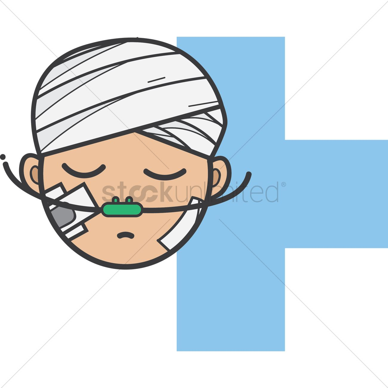 Boy with a bandaged head, cheeks and nasal cannula Vector Image.