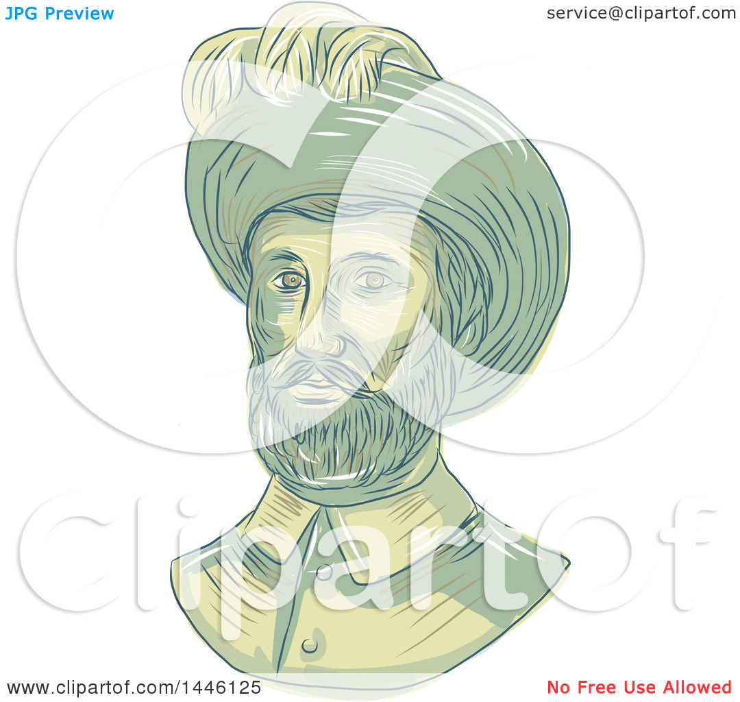 Clipart of a Sketched Bust of Juan Sebastian Elcano Aka Juan.