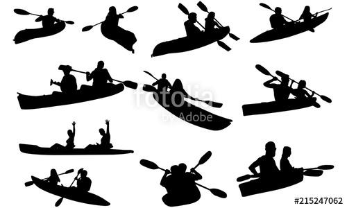 Couple Kayaking Silhouette.