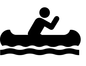 Canoeing clip art black and white.