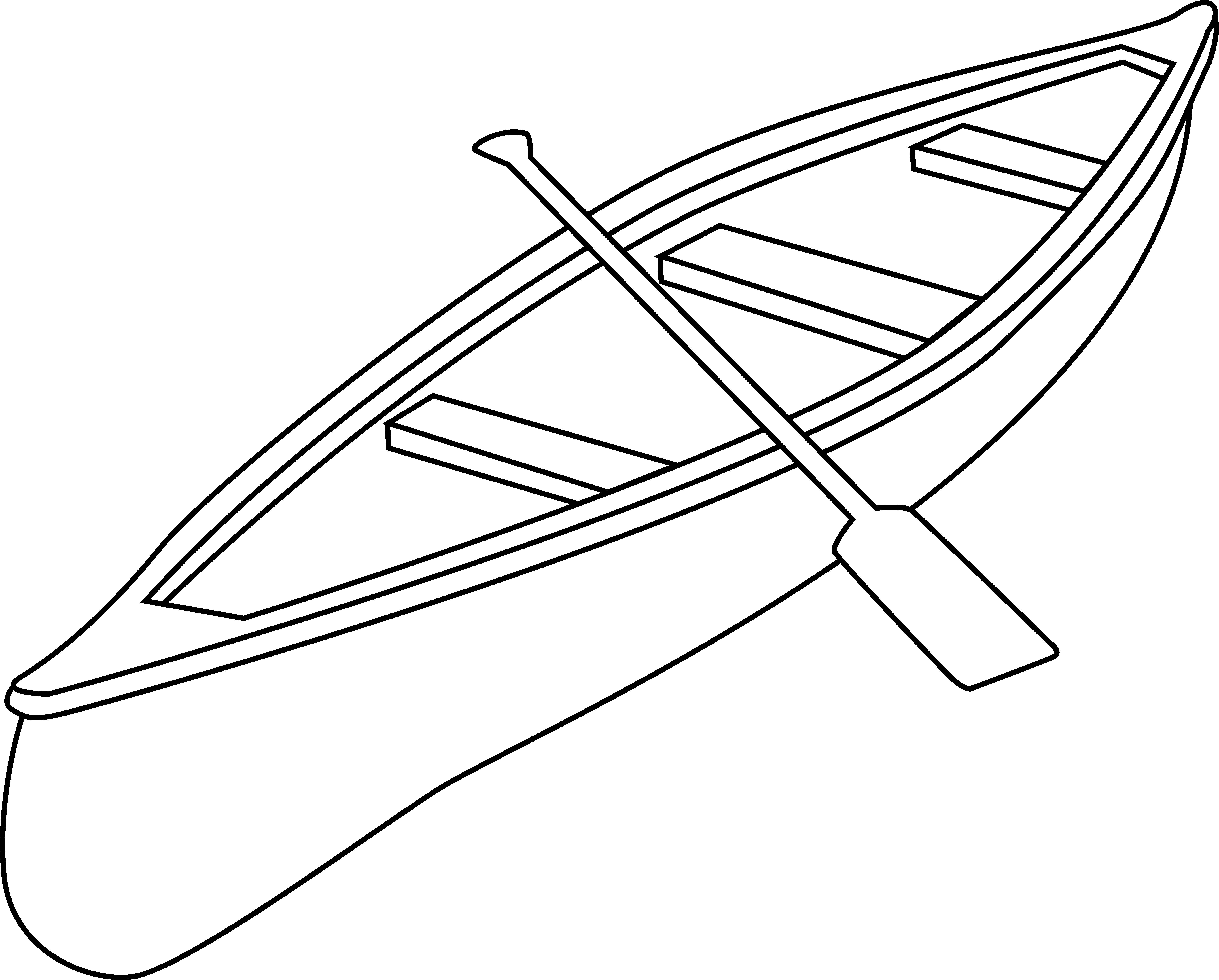 Free Canoe Clip Art Black and White Outline.