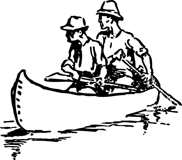 Canoe with people clipart.