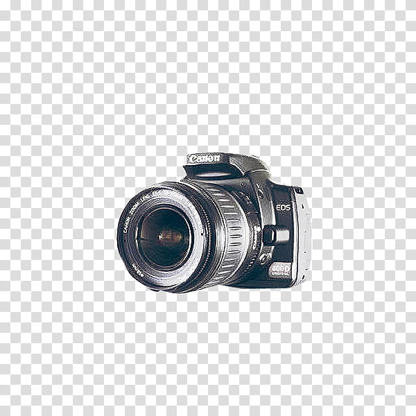 Cameras, black Canon EOS DSLR camera transparent background.