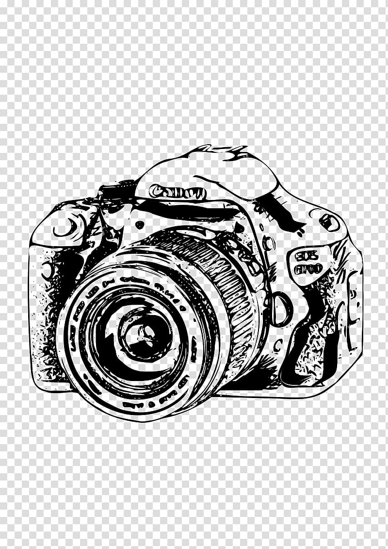 Canon EOS Camera , Camera Sketch transparent background PNG.