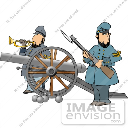 Two Civil War Soldiers With a Canon Clipart.