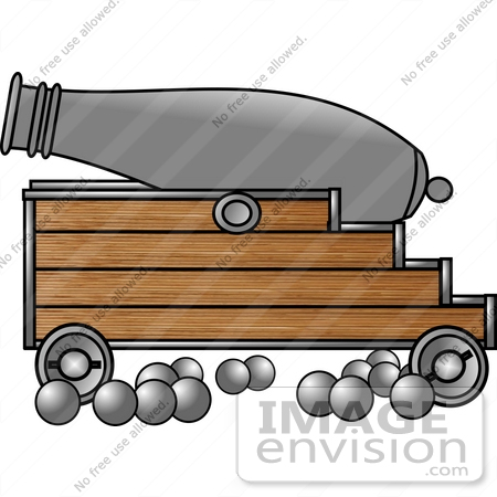 War Cannon With Cannon Balls Clipart.