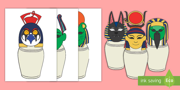Egyptian God and Goddesses Canopic Jars.