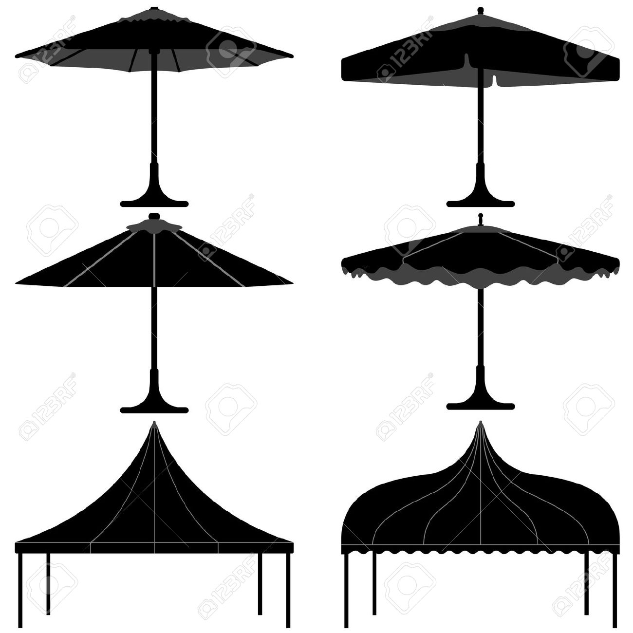 Umbrella Tent Gazebo Canopy Camp Silhouette Royalty Free Cliparts.