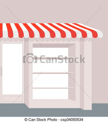 Vectors of Storefront with striped roof. Red and white stripes of.