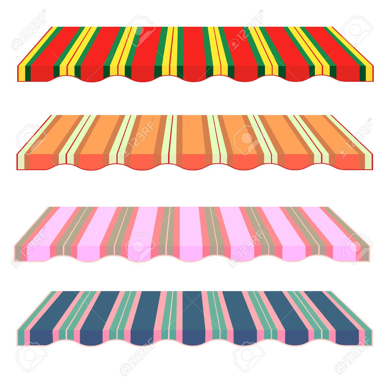 Detailed Illustration Of Set Of Striped Awnings. Vector. Roof.