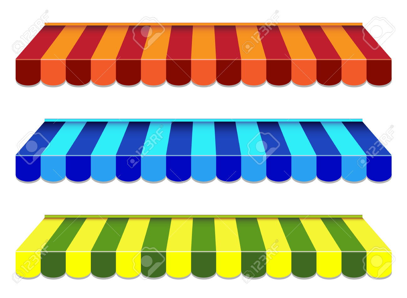 Striped awning clipart.
