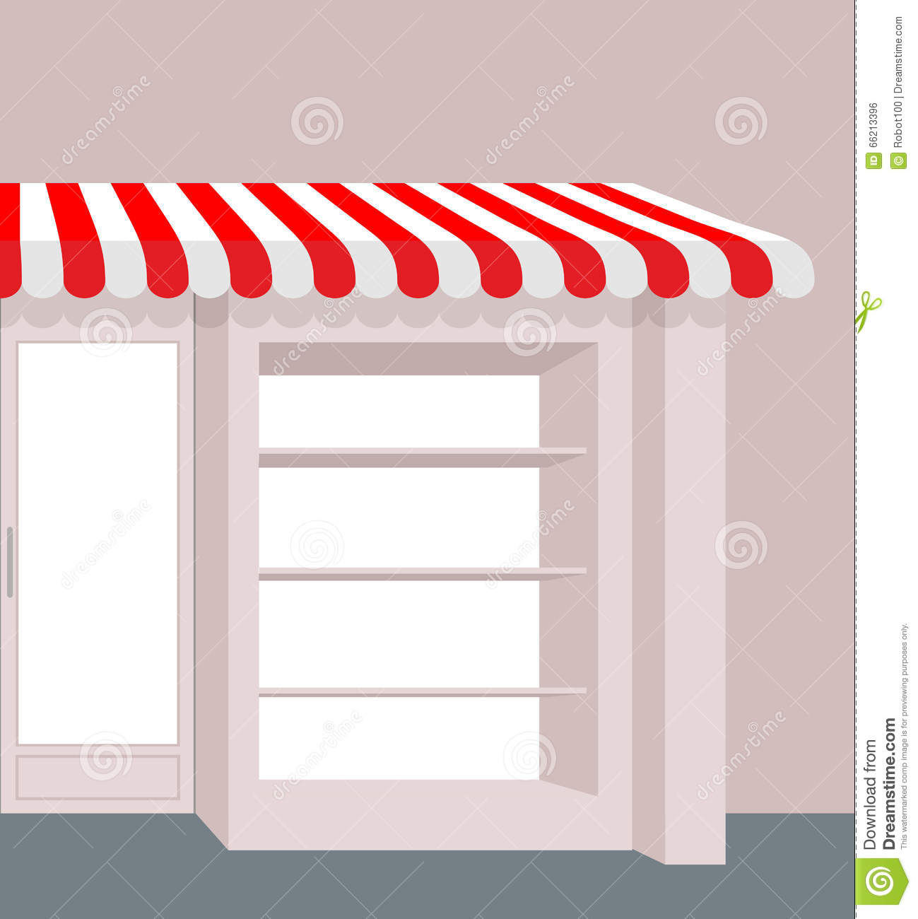 Storefront With Striped Roof. Red And White Stripes Of Canopy Ov.