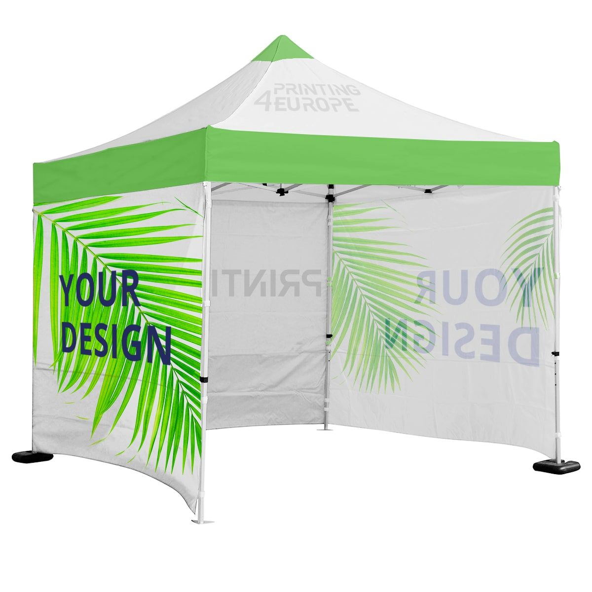 Custom printed tent 3 x 3m with canopy roof and walls.