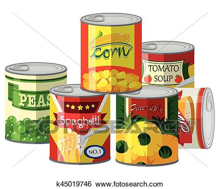 Pile of different canned food Clip Art.